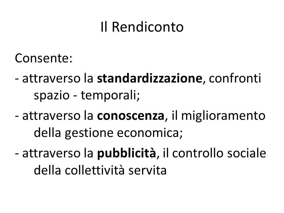 Il Rendiconto Consente: - attraverso la standardizzazione, confronti spazio - temporali; - attraverso la conoscenza, il miglioramento della gestione e