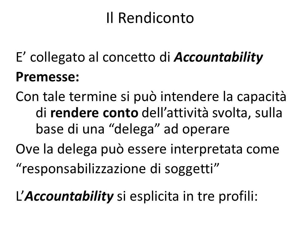 Il Rendiconto E collegato al concetto di Accountability Premesse: Con tale termine si può intendere la capacità di rendere conto dellattività svolta,