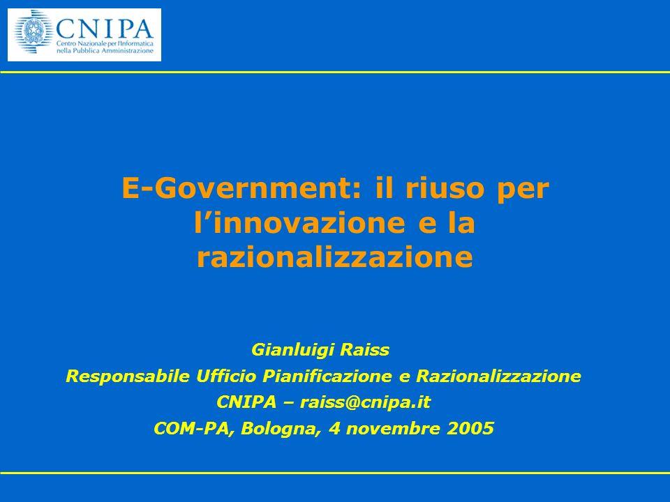 E-Government: il riuso per linnovazione e la razionalizzazione Gianluigi Raiss Responsabile Ufficio Pianificazione e Razionalizzazione CNIPA – raiss@c