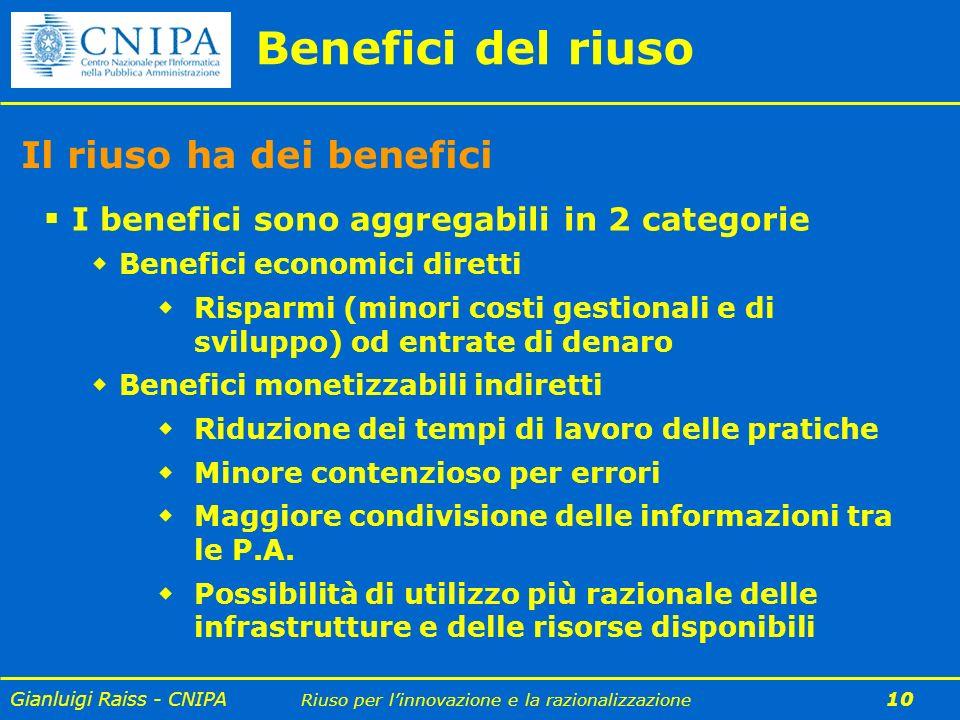Gianluigi Raiss - CNIPA Riuso per linnovazione e la razionalizzazione 10 Il riuso ha dei benefici I benefici sono aggregabili in 2 categorie Benefici