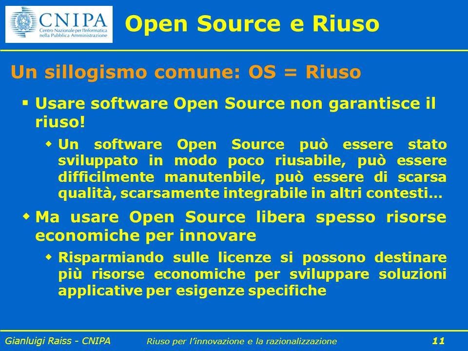 Gianluigi Raiss - CNIPA Riuso per linnovazione e la razionalizzazione 11 Open Source e Riuso Un sillogismo comune: OS = Riuso Usare software Open Sour