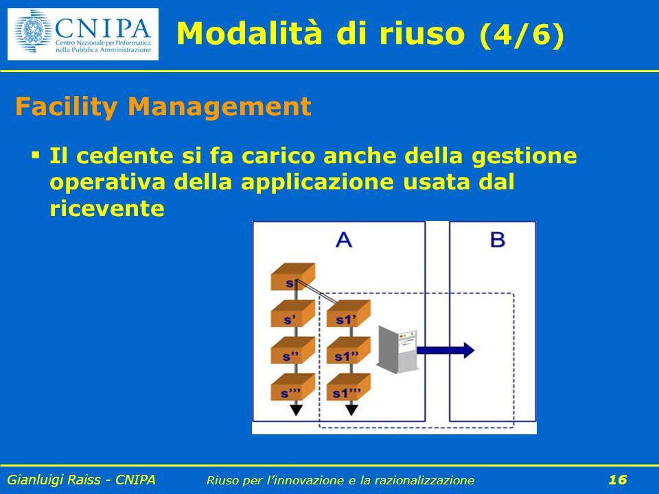 Gianluigi Raiss - CNIPA Riuso per linnovazione e la razionalizzazione 16 Modalità di riuso (4/6) Facility Management Il cedente si fa carico anche del