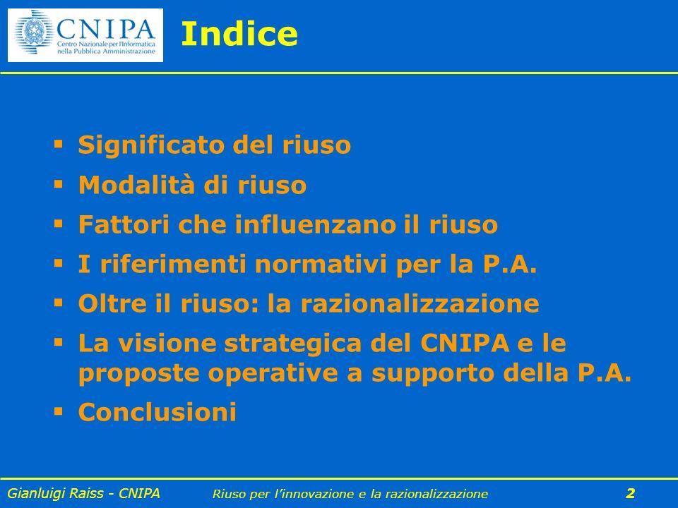 Gianluigi Raiss - CNIPA Riuso per linnovazione e la razionalizzazione 3 Significato del riuso Modalità di riuso Fattori che influenzano il riuso I riferimenti normativi per la P.A.