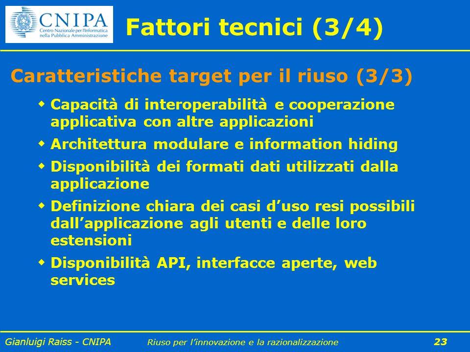 Gianluigi Raiss - CNIPA Riuso per linnovazione e la razionalizzazione 23 Fattori tecnici (3/4) Capacità di interoperabilità e cooperazione applicativa