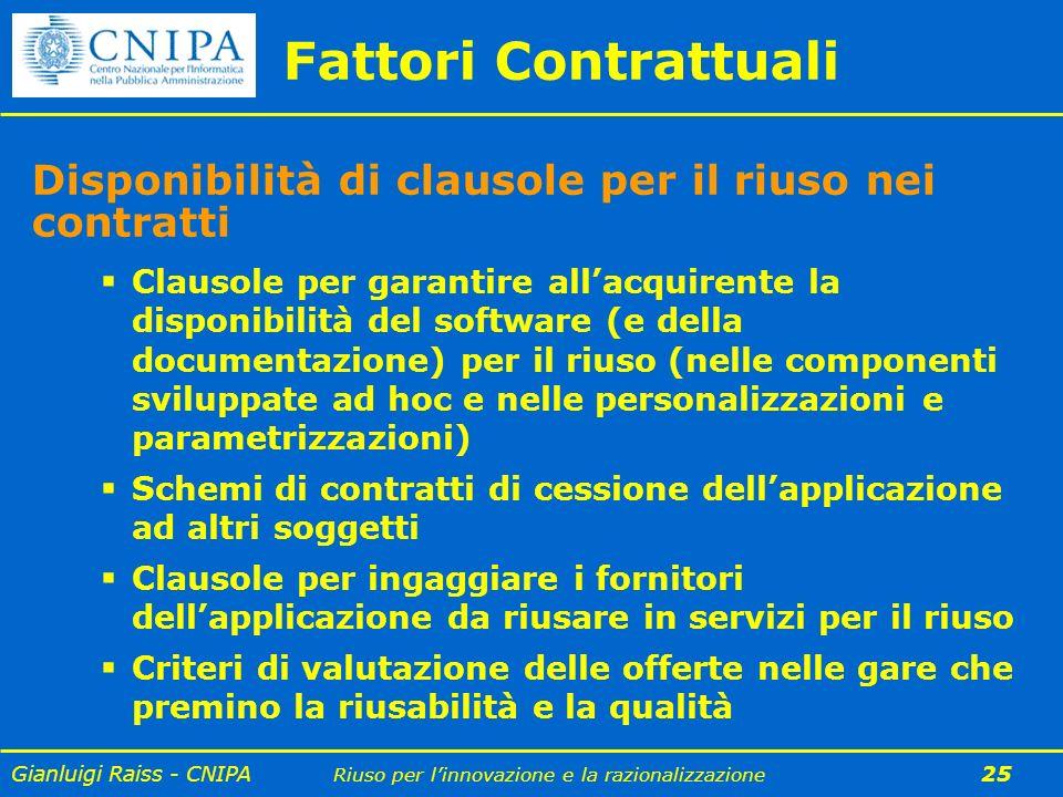 Gianluigi Raiss - CNIPA Riuso per linnovazione e la razionalizzazione 25 Clausole per garantire allacquirente la disponibilità del software (e della d