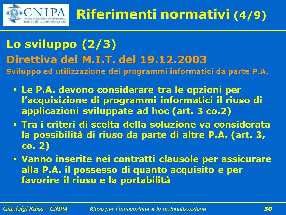 Gianluigi Raiss - CNIPA Riuso per linnovazione e la razionalizzazione 30 Riferimenti normativi (4/9) Lo sviluppo (2/3) Direttiva del M.I.T. del 19.12.