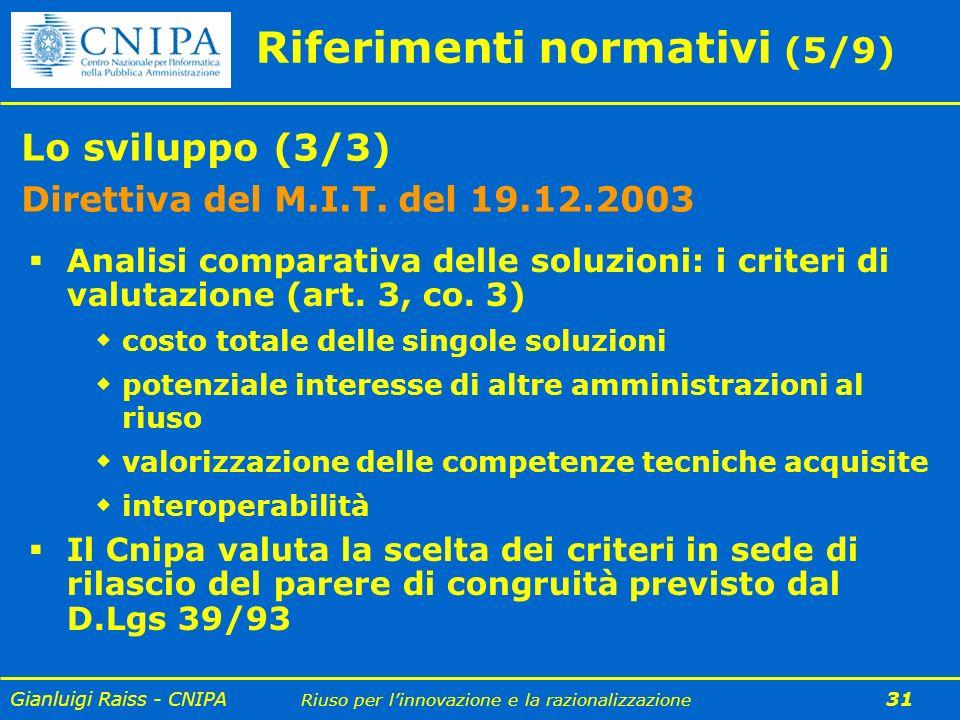 Gianluigi Raiss - CNIPA Riuso per linnovazione e la razionalizzazione 31 Riferimenti normativi (5/9) Lo sviluppo (3/3) Direttiva del M.I.T. del 19.12.