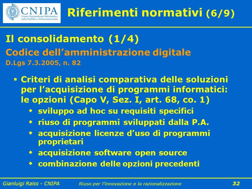 Gianluigi Raiss - CNIPA Riuso per linnovazione e la razionalizzazione 32 Riferimenti normativi (6/9) Il consolidamento (1/4) Codice dellamministrazion
