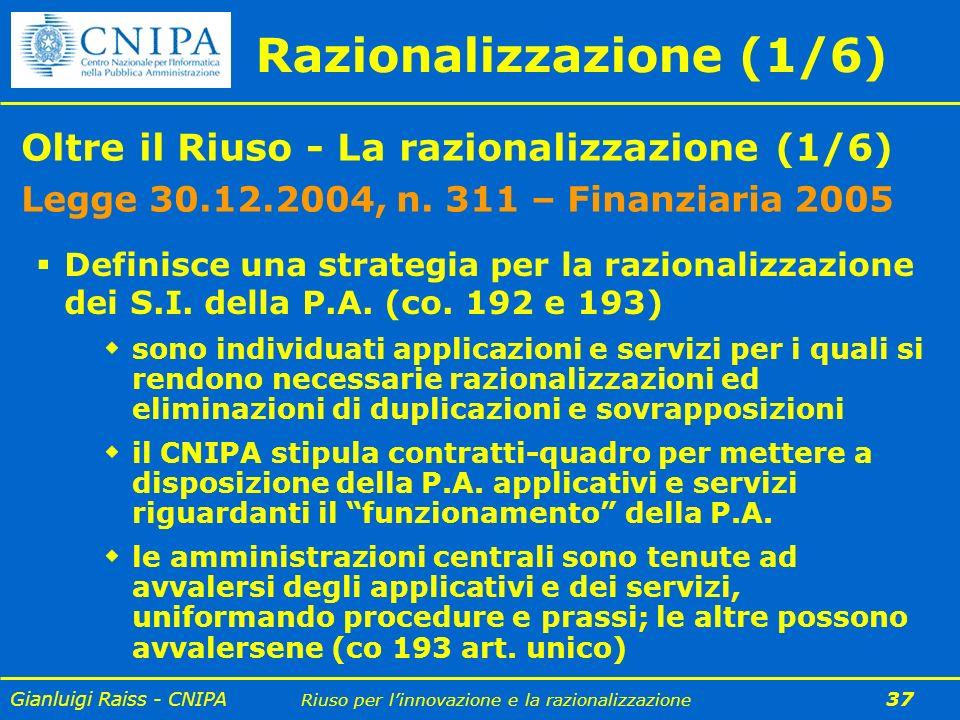 Gianluigi Raiss - CNIPA Riuso per linnovazione e la razionalizzazione 37 Razionalizzazione (1/6) Oltre il Riuso - La razionalizzazione (1/6) Legge 30.