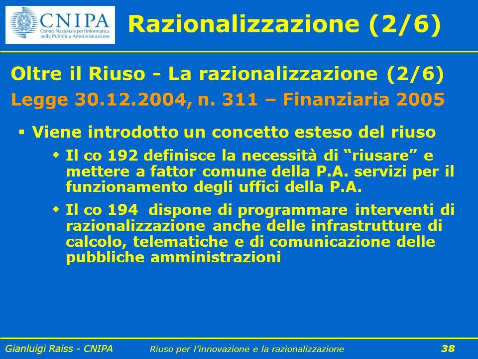 Gianluigi Raiss - CNIPA Riuso per linnovazione e la razionalizzazione 38 Oltre il Riuso - La razionalizzazione (2/6) Legge 30.12.2004, n. 311 – Finanz