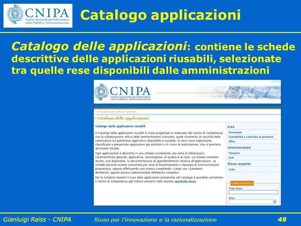 Gianluigi Raiss - CNIPA Riuso per linnovazione e la razionalizzazione 48 Catalogo applicazioni Catalogo delle applicazioni : contiene le schede descri