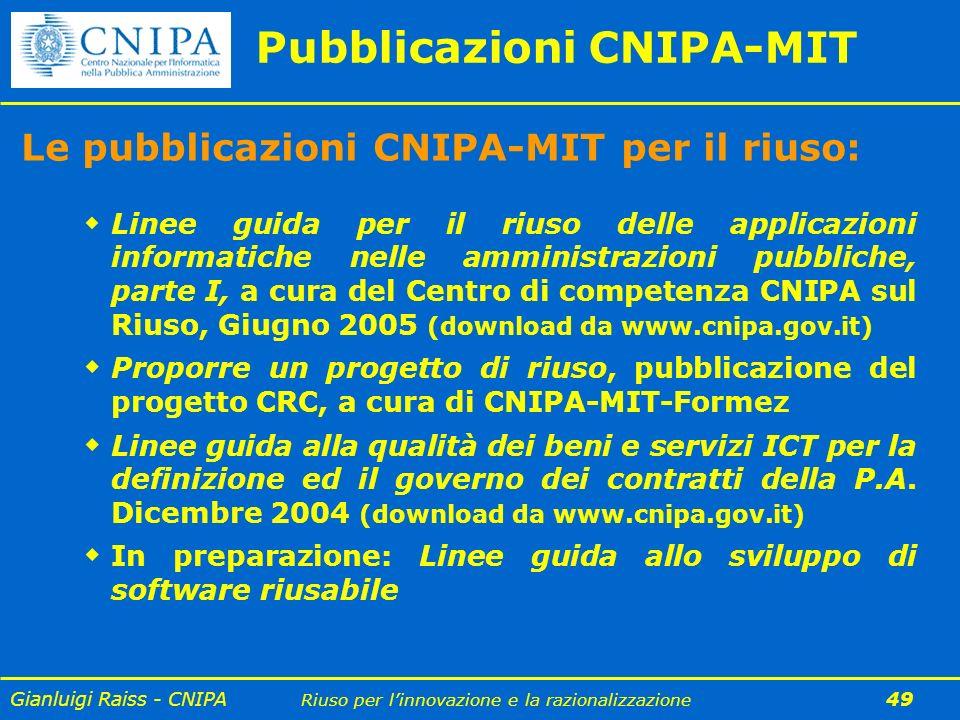 Gianluigi Raiss - CNIPA Riuso per linnovazione e la razionalizzazione 49 Pubblicazioni CNIPA-MIT Le pubblicazioni CNIPA-MIT per il riuso: Linee guida