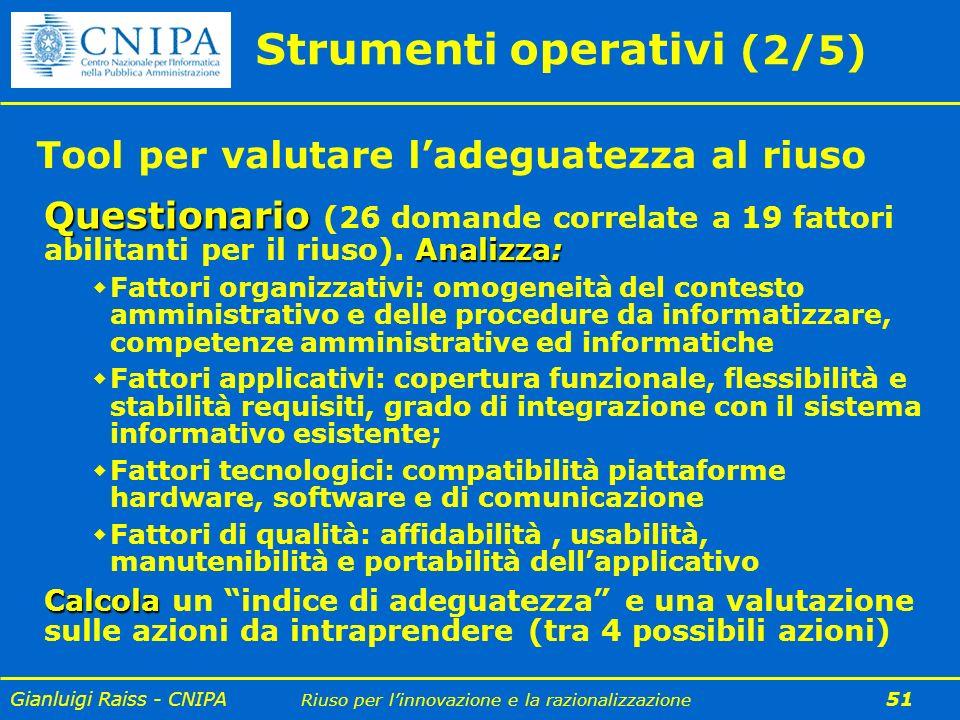 Gianluigi Raiss - CNIPA Riuso per linnovazione e la razionalizzazione 51 Strumenti operativi (2/5) Questionario Analizza: Questionario (26 domande cor
