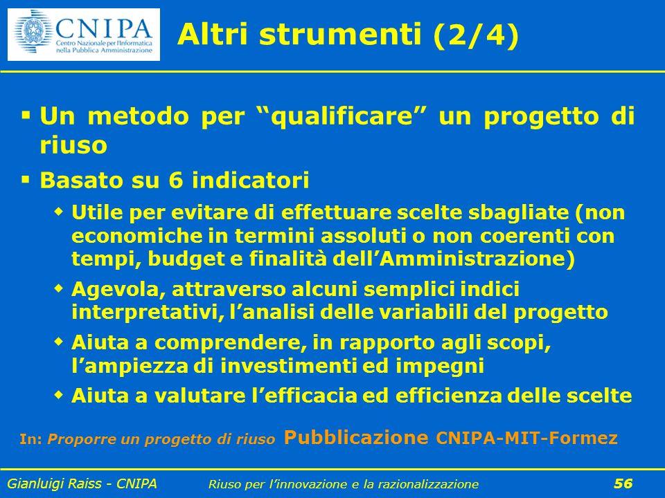 Gianluigi Raiss - CNIPA Riuso per linnovazione e la razionalizzazione 56 Altri strumenti (2/4) Un metodo per qualificare un progetto di riuso Basato s