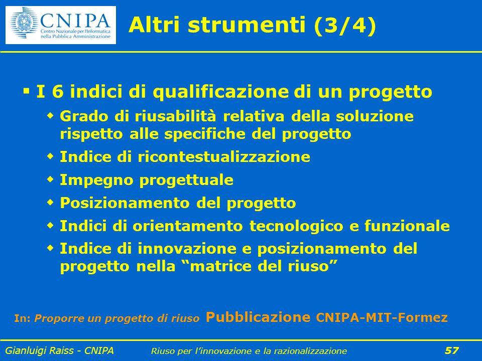 Gianluigi Raiss - CNIPA Riuso per linnovazione e la razionalizzazione 57 Altri strumenti (3/4) I 6 indici di qualificazione di un progetto Grado di ri