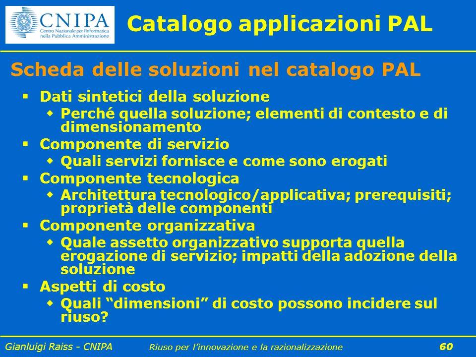 Gianluigi Raiss - CNIPA Riuso per linnovazione e la razionalizzazione 60 Catalogo applicazioni PAL Scheda delle soluzioni nel catalogo PAL Dati sintet