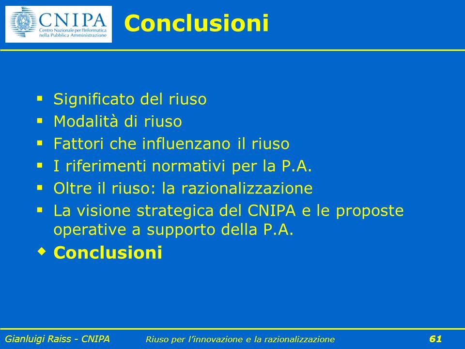 Gianluigi Raiss - CNIPA Riuso per linnovazione e la razionalizzazione 61 Conclusioni Significato del riuso Modalità di riuso Fattori che influenzano i