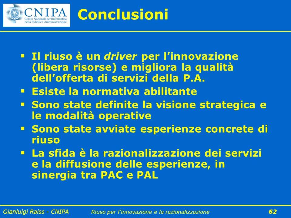 Gianluigi Raiss - CNIPA Riuso per linnovazione e la razionalizzazione 62 Conclusioni Il riuso è un driver per linnovazione (libera risorse) e migliora