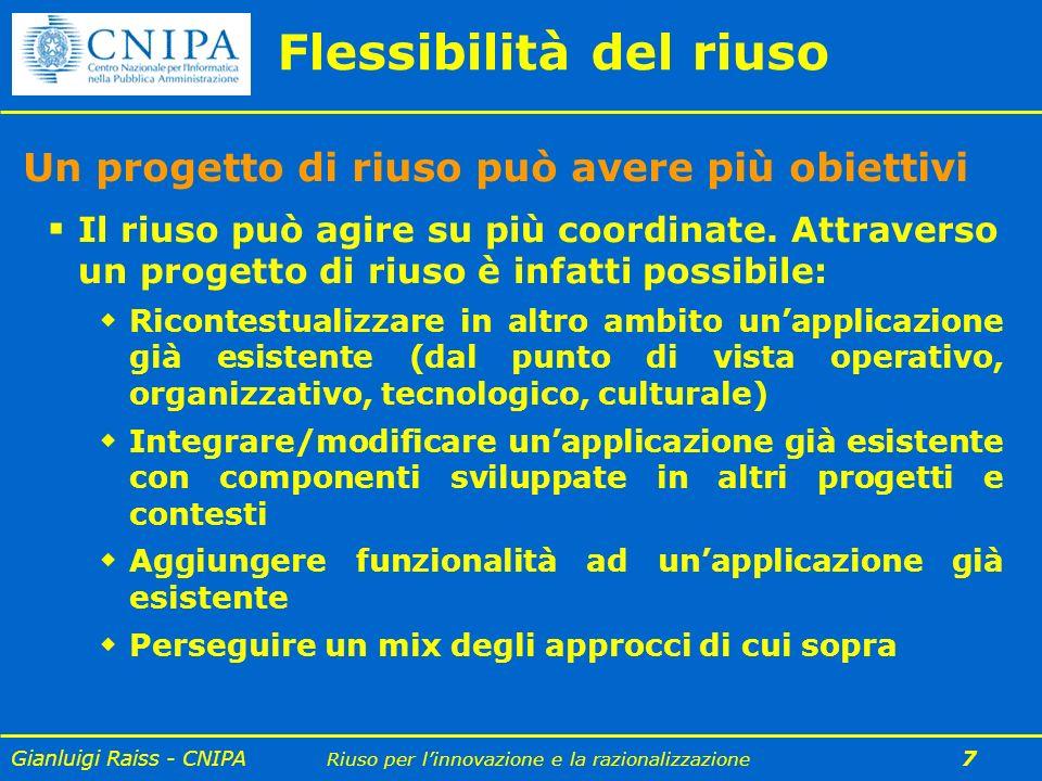 Gianluigi Raiss - CNIPA Riuso per linnovazione e la razionalizzazione 7 Flessibilità del riuso Un progetto di riuso può avere più obiettivi Il riuso p