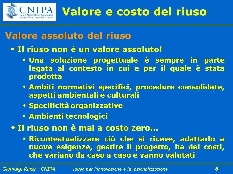 Gianluigi Raiss - CNIPA Riuso per linnovazione e la razionalizzazione 9 Il riuso ha un costo.