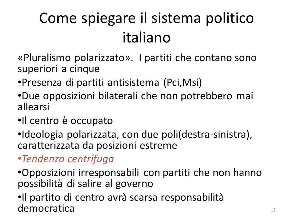 Come spiegare il sistema politico italiano «Pluralismo polarizzato». I partiti che contano sono superiori a cinque Presenza di partiti antisistema (Pc