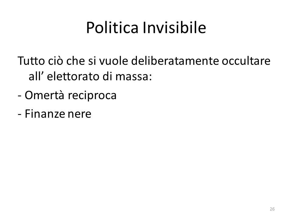 Politica Invisibile Tutto ciò che si vuole deliberatamente occultare all elettorato di massa: - Omertà reciproca - Finanze nere 26