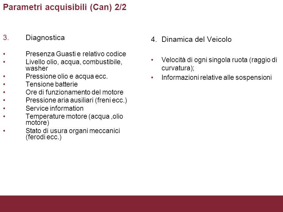 Parametri acquisibili (Can) 2/2 3.Diagnostica Presenza Guasti e relativo codice Livello olio, acqua, combustibile, washer Pressione olio e acqua ecc.