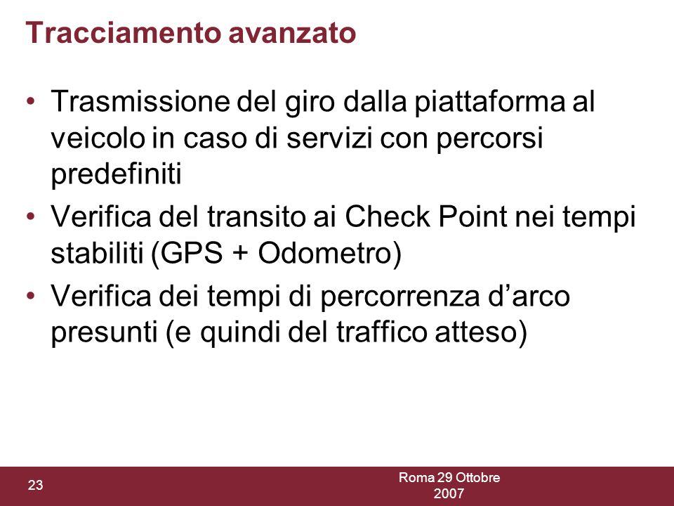 Roma 29 Ottobre 2007 23 Tracciamento avanzato Trasmissione del giro dalla piattaforma al veicolo in caso di servizi con percorsi predefiniti Verifica