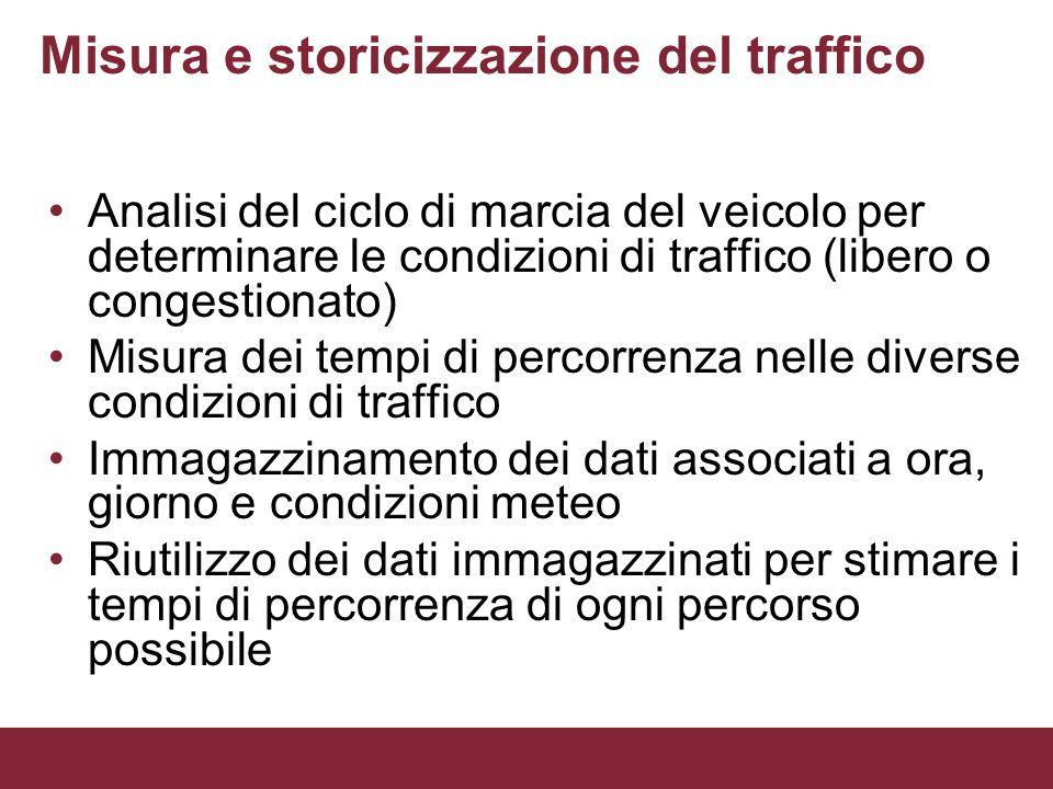 Misura e storicizzazione del traffico Analisi del ciclo di marcia del veicolo per determinare le condizioni di traffico (libero o congestionato) Misur