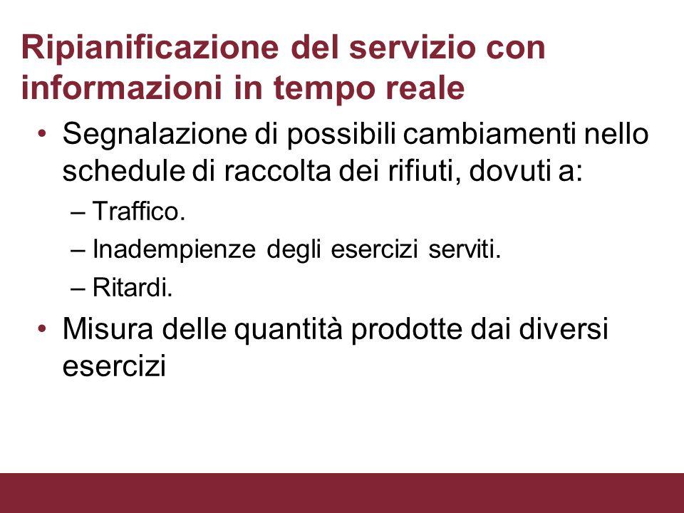 Ripianificazione del servizio con informazioni in tempo reale Segnalazione di possibili cambiamenti nello schedule di raccolta dei rifiuti, dovuti a:
