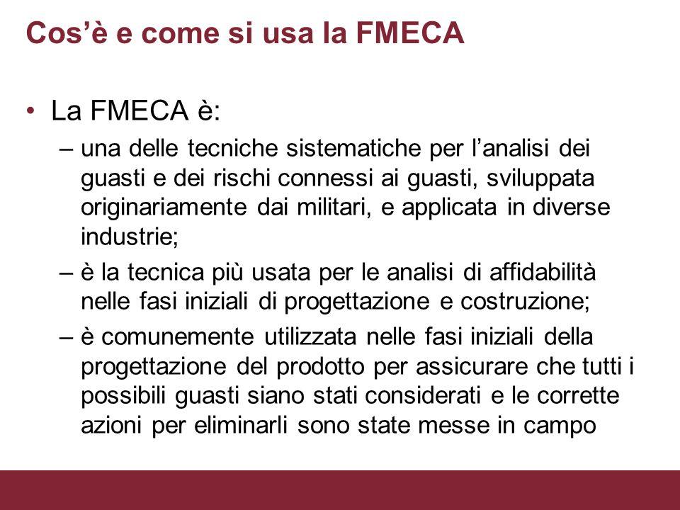 Cosè e come si usa la FMECA La FMECA è: –una delle tecniche sistematiche per lanalisi dei guasti e dei rischi connessi ai guasti, sviluppata originari