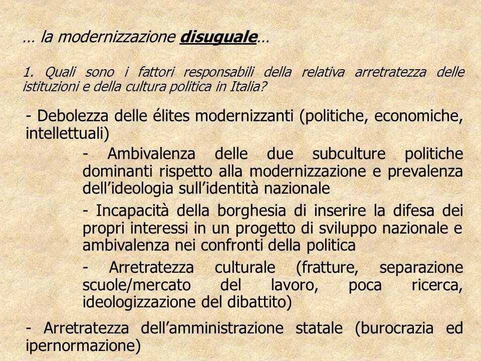 - Debolezza delle élites modernizzanti (politiche, economiche, intellettuali) … la modernizzazione disuguale… 1. Quali sono i fattori responsabili del