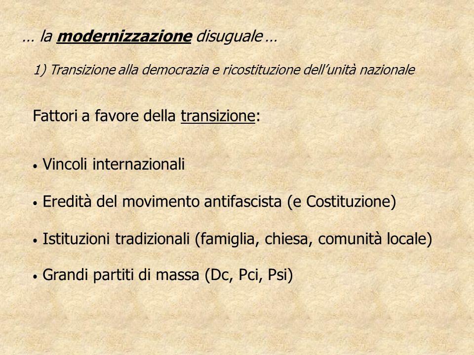Vincoli internazionali … la modernizzazione disuguale … 1) Transizione alla democrazia e ricostituzione dellunità nazionale Eredità del movimento anti