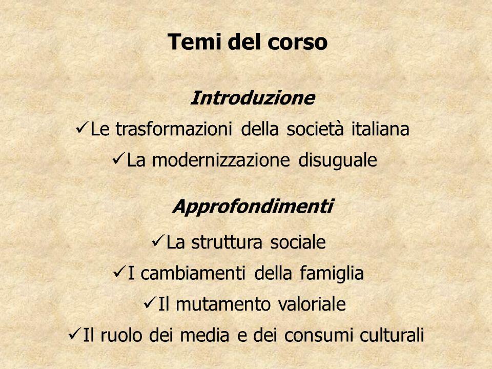 Temi del corso Le trasformazioni della società italiana La modernizzazione disuguale La struttura sociale I cambiamenti della famiglia Il mutamento va