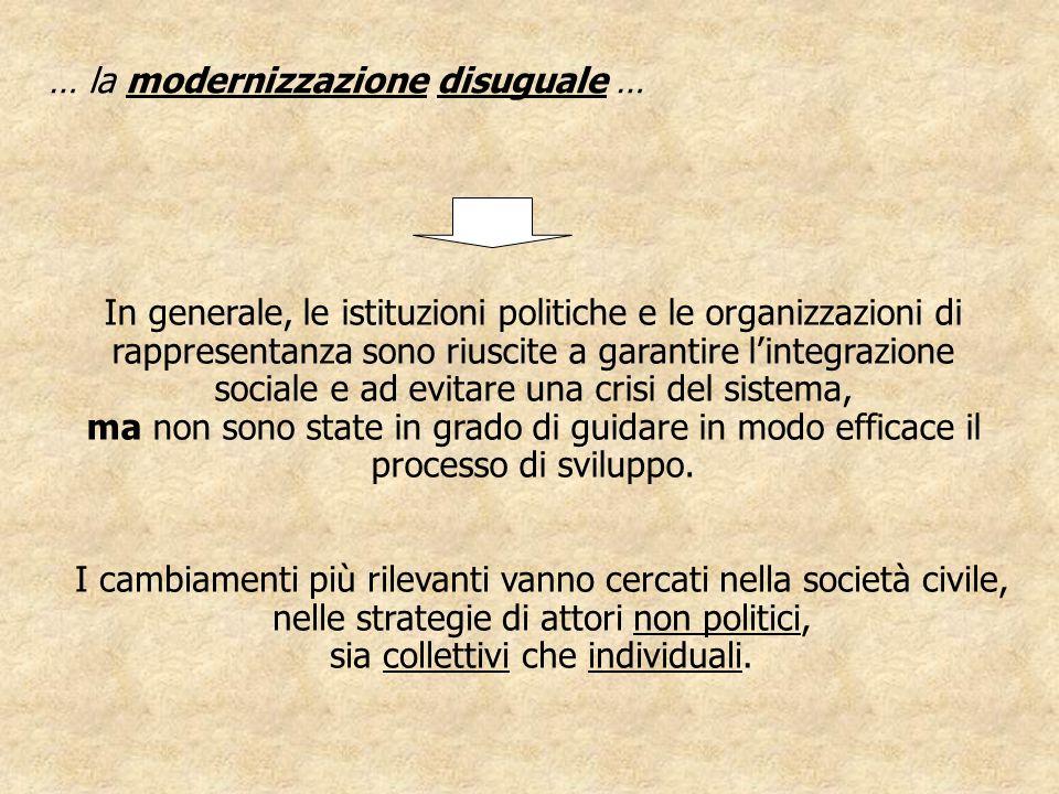 … la modernizzazione disuguale … In generale, le istituzioni politiche e le organizzazioni di rappresentanza sono riuscite a garantire lintegrazione s