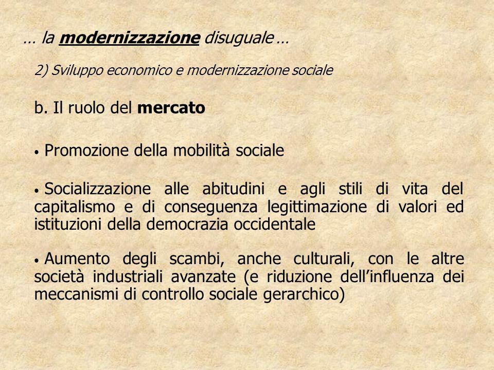Promozione della mobilità sociale … la modernizzazione disuguale … 2) Sviluppo economico e modernizzazione sociale Socializzazione alle abitudini e ag