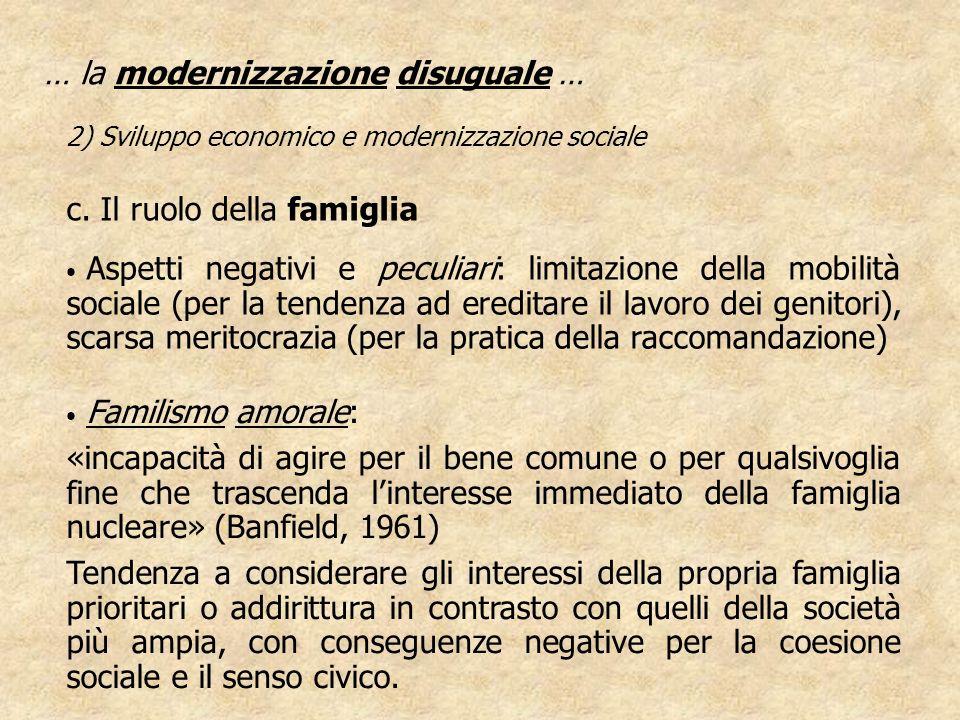 … la modernizzazione disuguale … 2) Sviluppo economico e modernizzazione sociale c. Il ruolo della famiglia Aspetti negativi e peculiari: limitazione