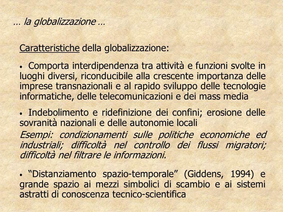 … la globalizzazione … Caratteristiche della globalizzazione: Indebolimento e ridefinizione dei confini; erosione delle sovranità nazionali e delle au