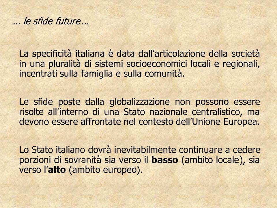… le sfide future … La specificità italiana è data dallarticolazione della società in una pluralità di sistemi socioeconomici locali e regionali, ince