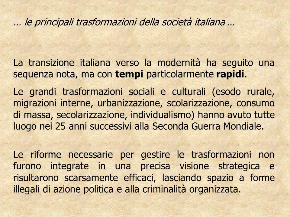 La transizione italiana verso la modernità ha seguito una sequenza nota, ma con tempi particolarmente rapidi. Le grandi trasformazioni sociali e cultu