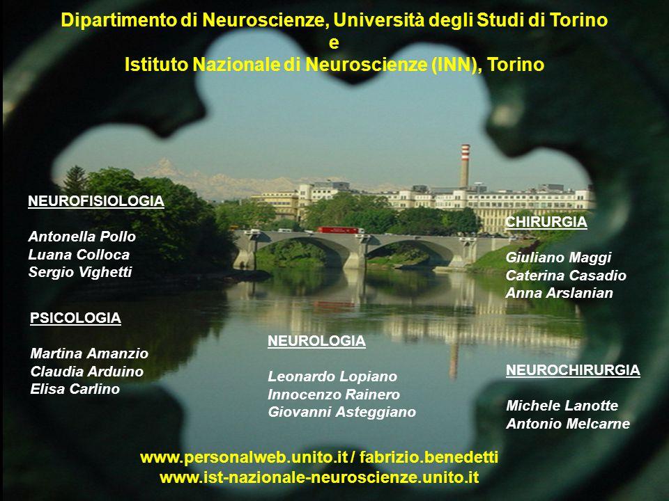 www.personalweb.unito.it / fabrizio.benedetti www.ist-nazionale-neuroscienze.unito.it NEUROFISIOLOGIA Antonella Pollo Luana Colloca Sergio Vighetti PS
