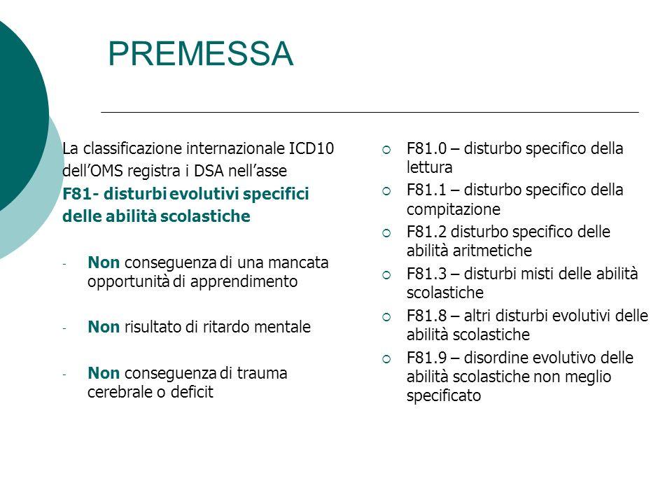 PREMESSA La classificazione internazionale ICD10 dellOMS registra i DSA nellasse F81- disturbi evolutivi specifici delle abilità scolastiche - Non con