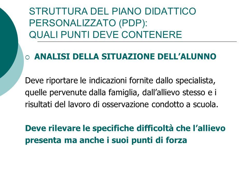STRUTTURA DEL PIANO DIDATTICO PERSONALIZZATO (PDP): QUALI PUNTI DEVE CONTENERE ANALISI DELLA SITUAZIONE DELLALUNNO Deve riportare le indicazioni forni