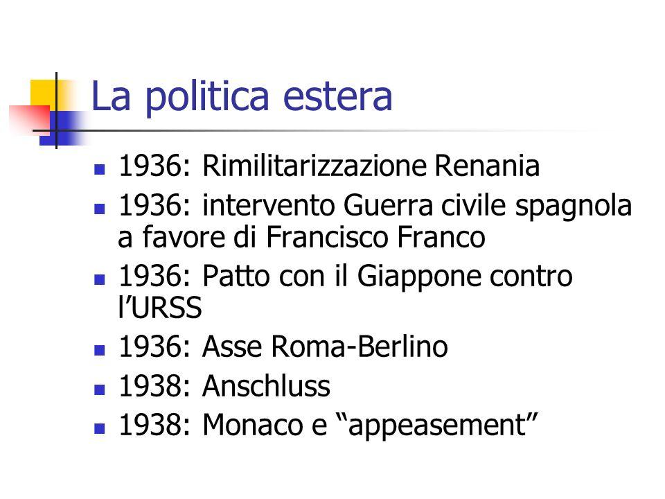 La politica estera 1936: Rimilitarizzazione Renania 1936: intervento Guerra civile spagnola a favore di Francisco Franco 1936: Patto con il Giappone c