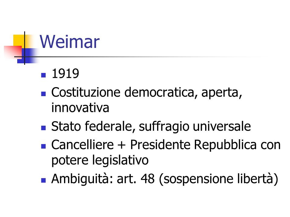 La Germania di Weimar Polarizzazione politica Crisi economica Weimar= sconfitta e crisi (pugnalata alla schiena) Crisi della Ruhr (1923) Ma anche: Distensione e stabilizzazione
