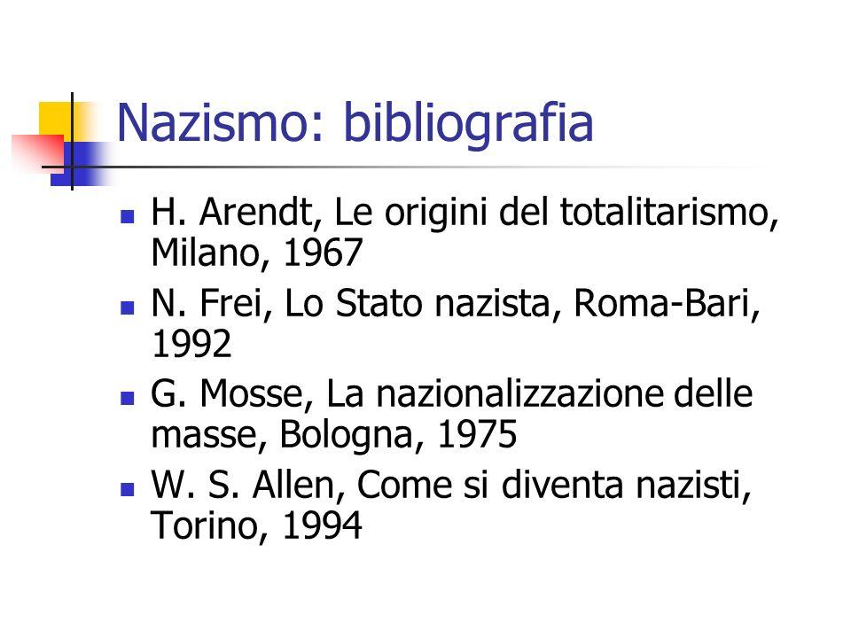 Nazismo: bibliografia H. Arendt, Le origini del totalitarismo, Milano, 1967 N. Frei, Lo Stato nazista, Roma-Bari, 1992 G. Mosse, La nazionalizzazione