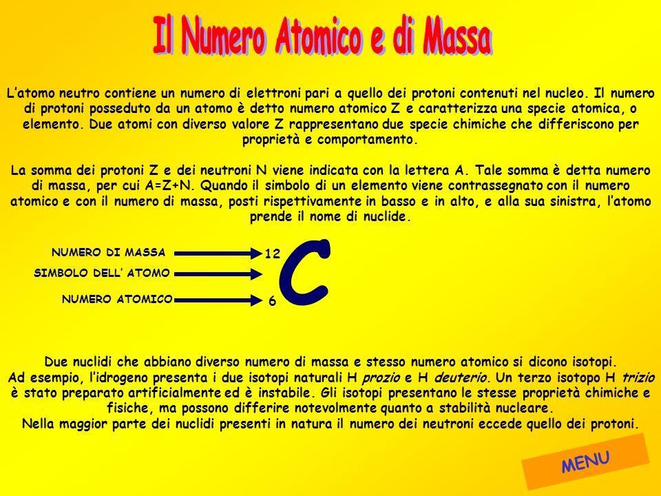 Latomo neutro contiene un numero di elettroni pari a quello dei protoni contenuti nel nucleo. Il numero di protoni posseduto da un atomo è detto numer