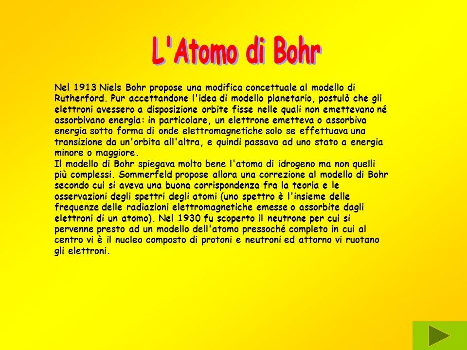 Nel 1913 Niels Bohr propose una modifica concettuale al modello di Rutherford. Pur accettandone l'idea di modello planetario, postulò che gli elettron