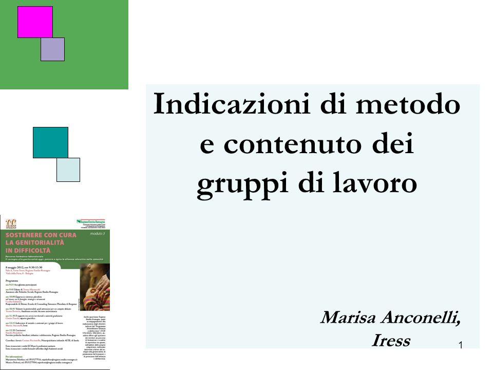 1 Indicazioni di metodo e contenuto dei gruppi di lavoro Marisa Anconelli, Iress