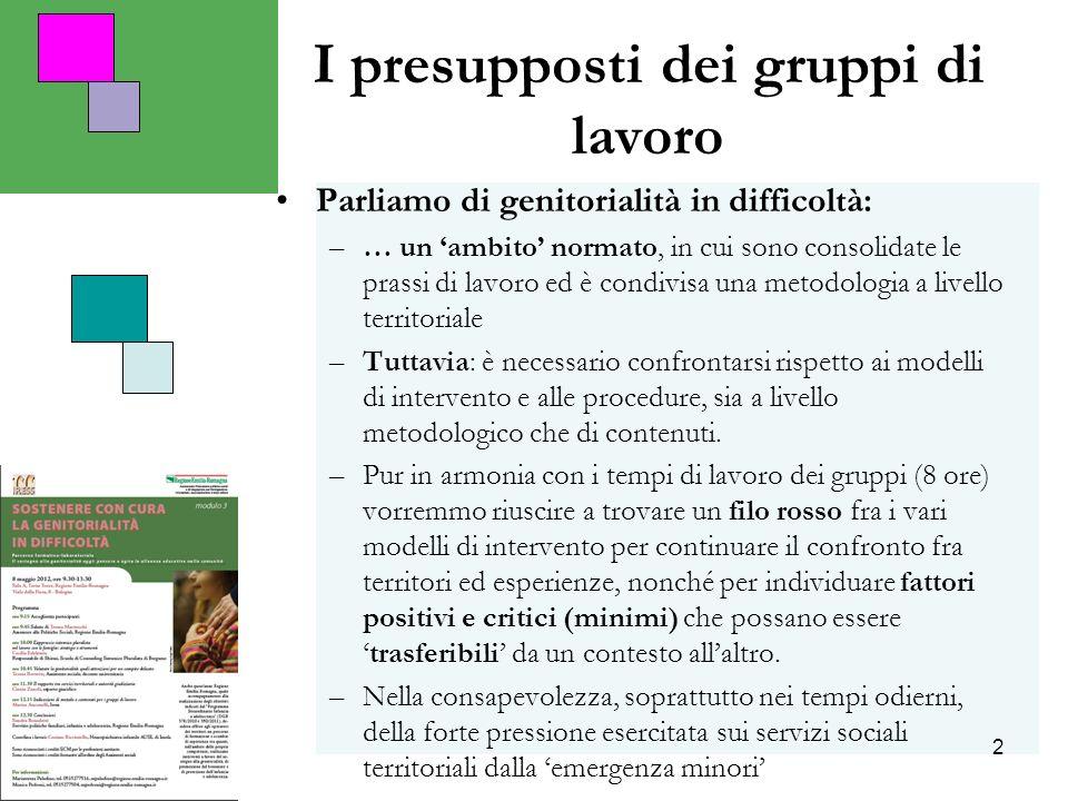 2 I presupposti dei gruppi di lavoro Parliamo di genitorialità in difficoltà: –… un ambito normato, in cui sono consolidate le prassi di lavoro ed è c